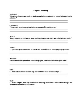 Blank Animal Farm Chapter 3 vocabulary with context clues
