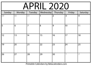 picture regarding Printable Calendar April called Blank April 2020 Calendar Printable via Mateo Pedersen TpT