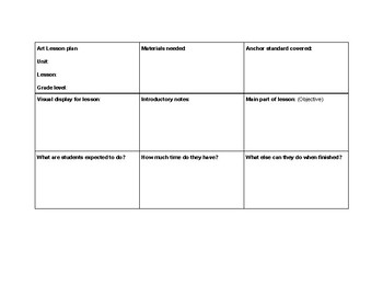 Blank Art Lesson Plan Template PDF