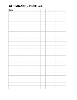 image relating to Attendance Sheet Printable identify Blank Attendance Sheet