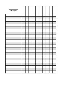 Blank Attendance Sheet By Crafty Aquarius Design Tpt
