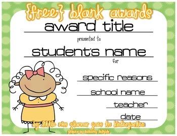 Blank Awards for any Classroom Celebration