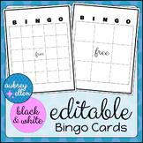 Blank BINGO Card Editable Black/White