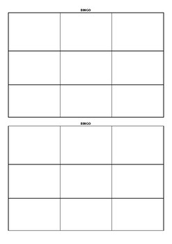 Blank BINGO Cards 3x3 by Madeleine Lifsey | Teachers Pay Teachers