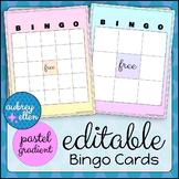 Blank BINGO Cards Editable Pastel Gradient Theme