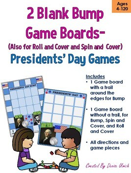 Blank BUMP Game, Spin and Cover, Roll and Cover Game Template - President's Day
