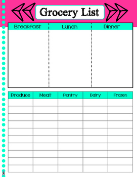 Blank Basic Agenda Pages - Meal Plan