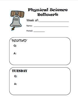 Blank Bellwork / Do-Now Sheet