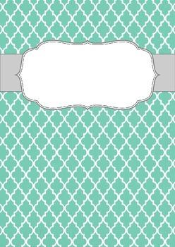 Blank Binder Cover: Teal Quatrefoil