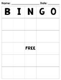 Blank Bingo Board FREEBIE!