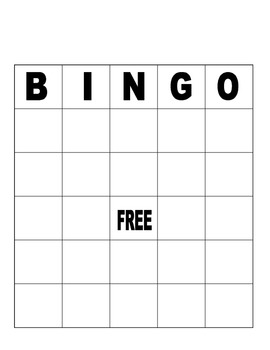 Blank Bingo Board for Fun or Assessment