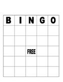 Blank Bingo Board for Fun or Assessment