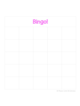 Blank Bingo Boards - Customizable