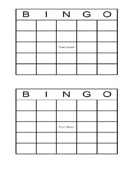 Blank Bingo Cards Blank Bingo Cards