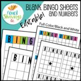 Blank Bingo Sheets and Numbers | Editable!
