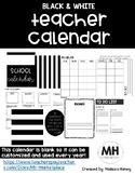 Blank Black & White Teacher Calendar