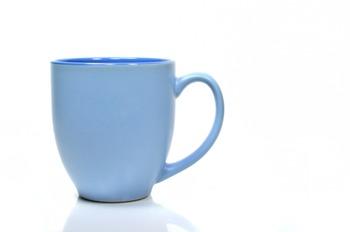 Blank Blue Mug on White Background.