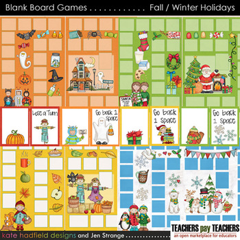 Blank Board Games - Fall / Winter Holiday Pack (File Folder Games