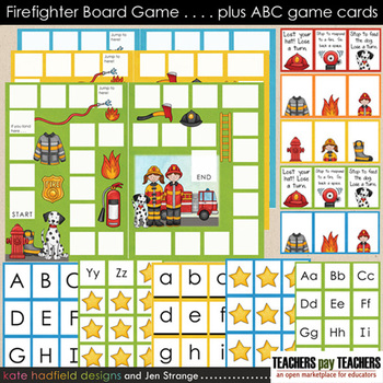 Blank Board Games - Firefighter (File Folder Games) plus ABC identification game
