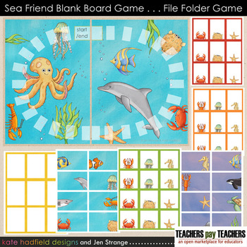 Blank Board Games - Sea Friends (File Folder Games)