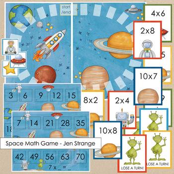 Blank Board Games - Space (File Folder Games) w/ bonus multiplication fact cards