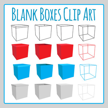 Blank Boxes Clip Art Set for Commercial Use