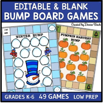Bump Game (Editable Template)- Year of Themed Games For Small Groups & Centers