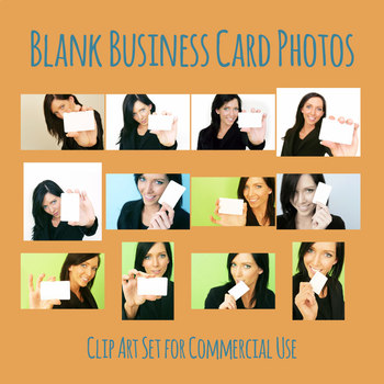 Blank Business Card Photos with Woman Photographic Clip Art Set