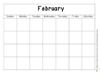 Blank Calendar Pages