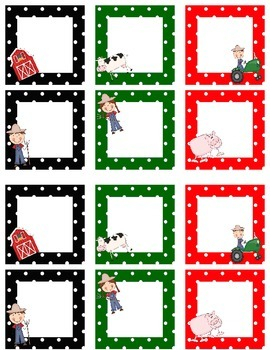 Blank Calendar Squares Farm Themed