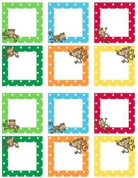 Blank Calendar Squares Monkey Theme