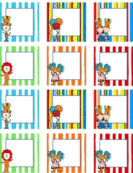 Blank Calendar Squares Circus Theme