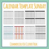 Blank Calendar (Sunday Start) Template Clip Art Set for Commercial Use d