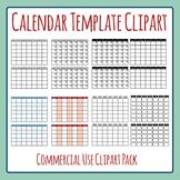Blank Calendar Template Monday Start Clip Art Set for Commercial Use