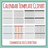 Blank Calendar Template Monday Start Clip Art Set for Commercial Use