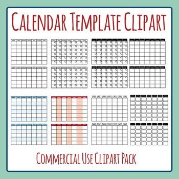 Blank Calendar Template Monday Start Clip Art Set for Comm
