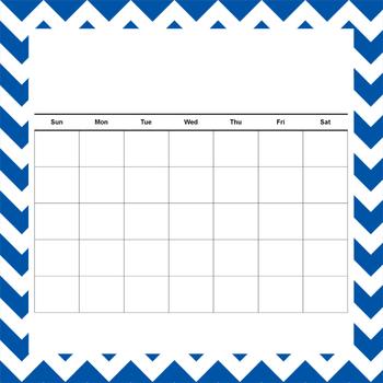 Blank Calendar with Chevron Background