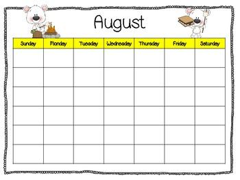 Blank Calendars for Teachers or Students