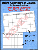 Blank Calendars in Two Sizes