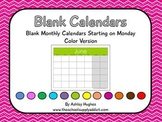 FREE Blank Calendars with Monday Start
