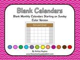 FREE Blank Calendars with Sunday Start