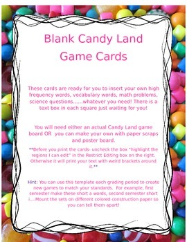 Blank Candy Land Game Cards