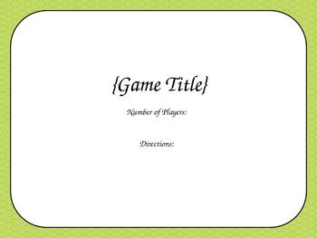 Blank Card Game - Green