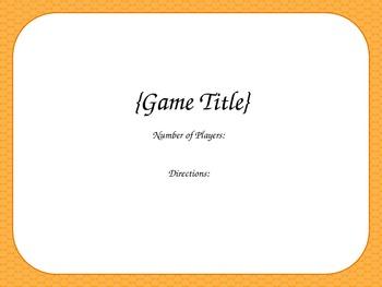 Blank Card Game - Orange