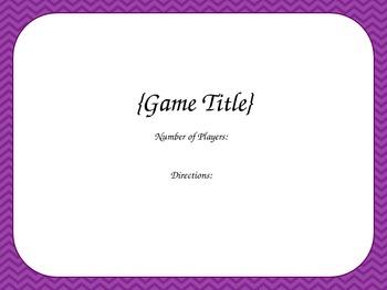 Blank Card Game - Purple