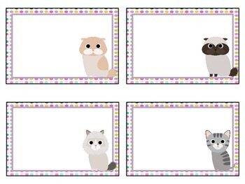 Blank Cat themed Classroom Labels