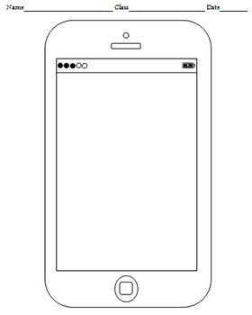 Blank Cell Phone Templates (4 templates) by Handy Teaching Tools