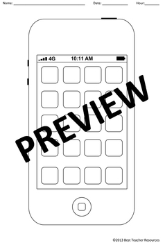 blank cell phone template create your own iphone apps tpt
