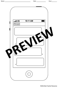 blank cell phone template create your own iphone messages tpt