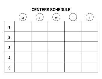 Editable Centers Schedule